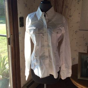 Pearl snap GAP white button down shirt.